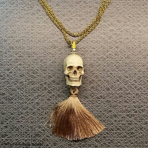 Resin skull goth hippie bohemian brass chain by CBlomsDesign