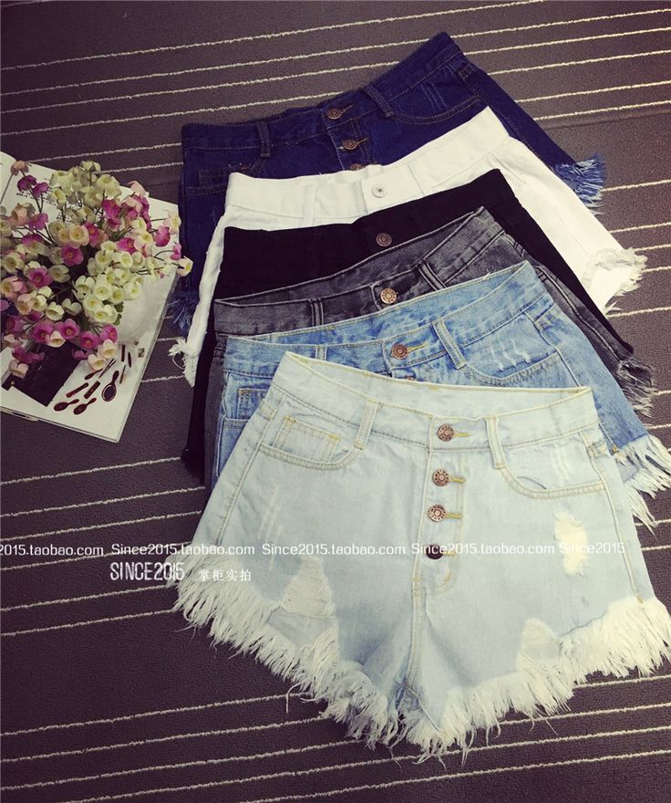 2016 European and American BF summer wind female blue high waist denim shorts women worn loose burr hole jeans shorts plus size-in Shorts from Women's Clothing & Accessories on Aliexpress.com   Alibaba Group