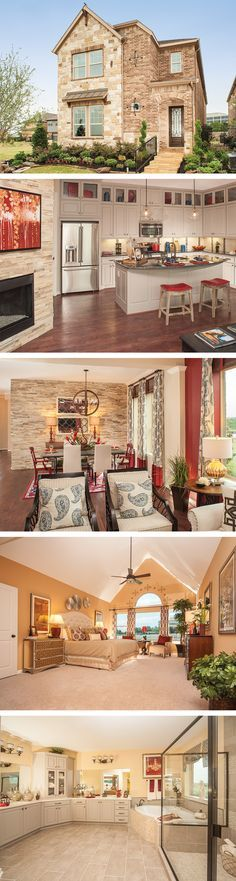 The Ridge dale by David Weekley Homes in Parkside is a 4 or 5 bedroom home that features hardwood floors, an open kitchen layout and beautiful wood ceiling beams. Custom home features include a super owners bath, a media room and a fireplace in the family room.