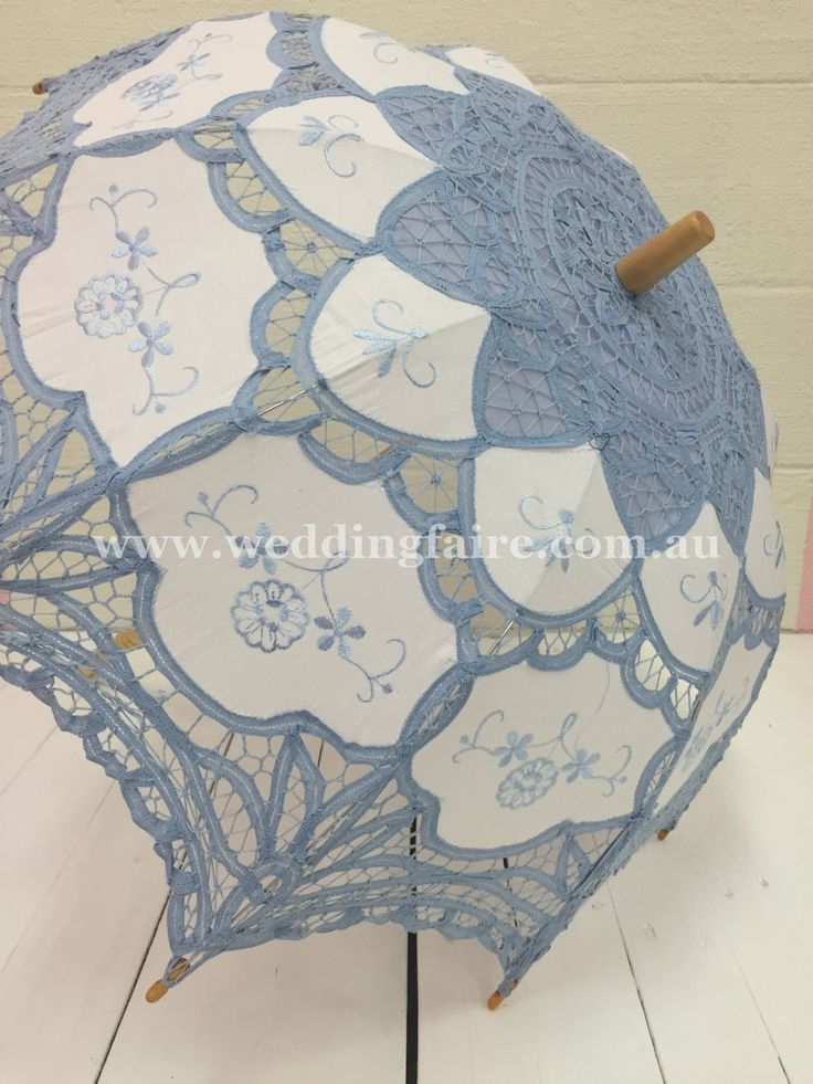 Vintage Lace Parasol - Baby Blue - The Wedding Faire