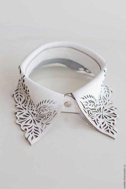 Leather collar / Воротник `Стойка` белый 7000012