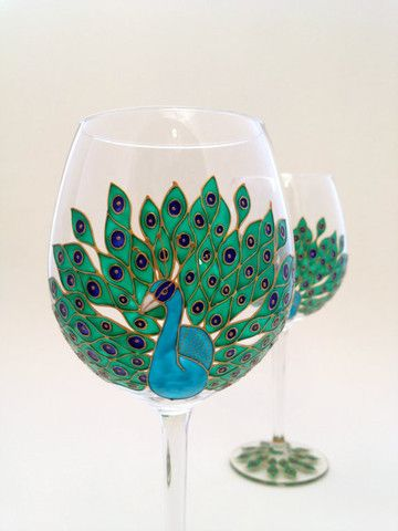 Toasted Glass - Peacock Wine Goblets