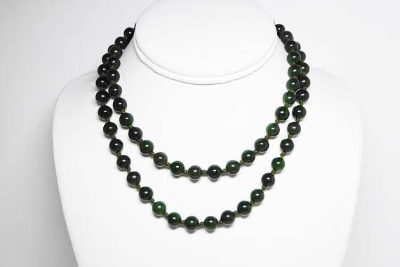New Listings Daily - Follow Us for UpDates -  Description & Style:  Nephrite Jade Bead Necklace - Hand Knotted Pull Over - 78 Dark Green Jade Beads (7.93mm) - #Vintage 1960's Opera Length Beaded Necklace offered by TheJ... #vintage #jewelry #teamlove #etsyretwt #thejewelseeker ➡️ http://etsy.me/2u2sjob