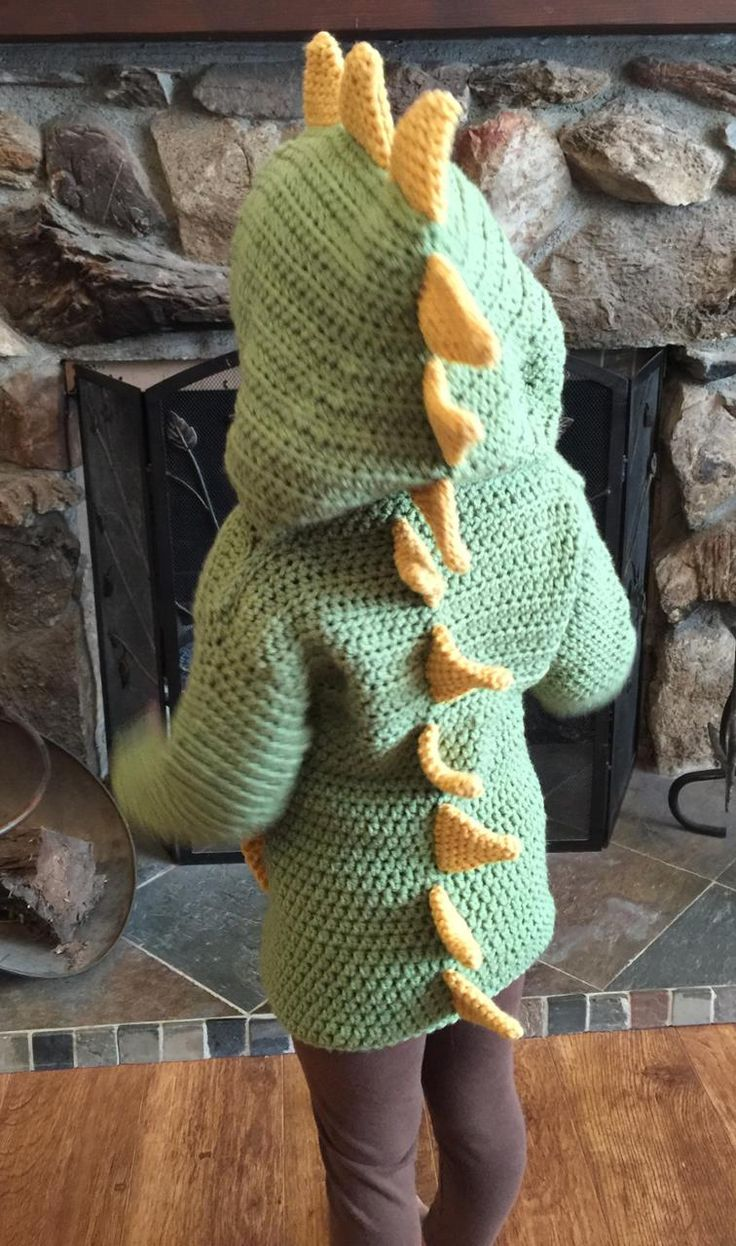 3T/4T Dino/ Dinosaur Hooded Sweater with Spikes | Craftsy