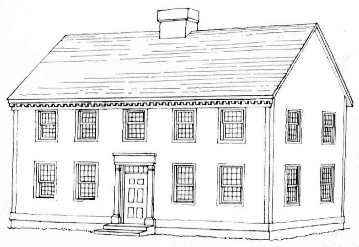 A typical Georgian style home sketch.