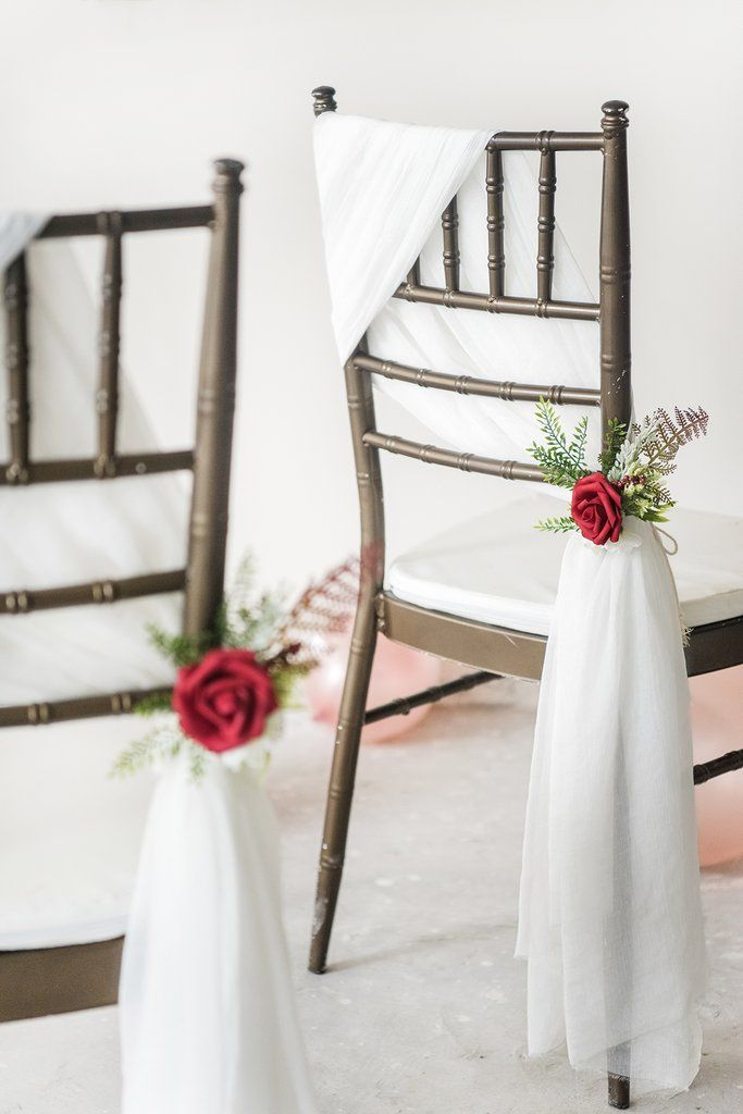 Set Of 6 Pew Flowers And Chair Sashes Ready To Use Handmade Item