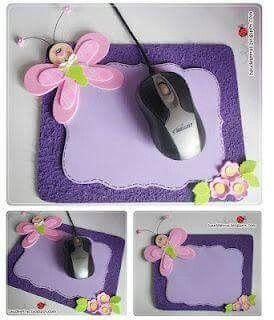 Tapete para raton de computadora hecho con goma eva o foamy, un lindo detalle para el dia de las madres