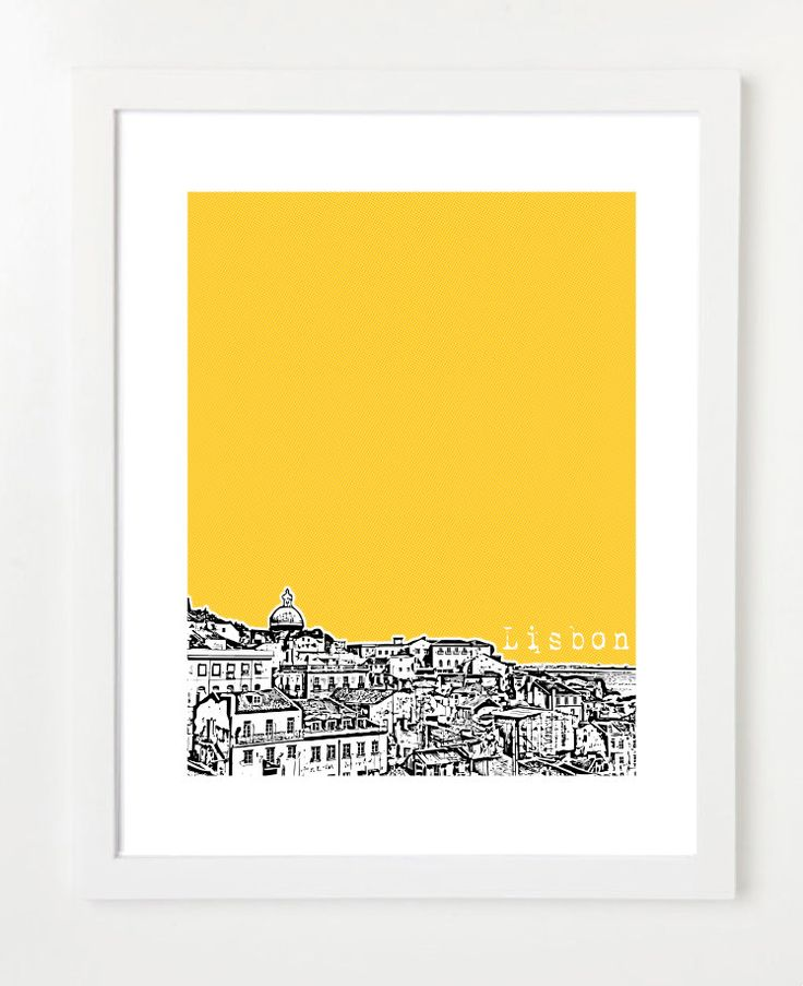 Lisbon Portugal Poster - City Skyline Art Print - 8x10. $20.00, via Etsy.