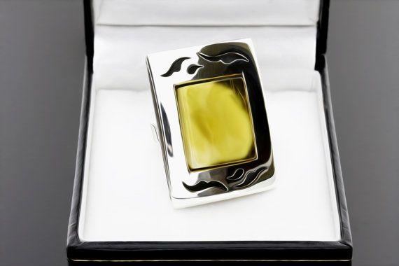 Déclaration Large anneau ouvert, bague ambre, grande bague ambre, bague ambre bijoux, bague ambre, anneau ouvert, bague pour femme, bague de la Reine