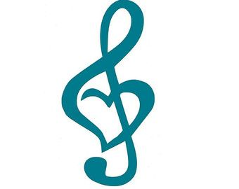 Treble Clef Heart Car Decal, Computer Decal, Music Note, Turquoise, Blue, Pink, Green, Yellow, Purple