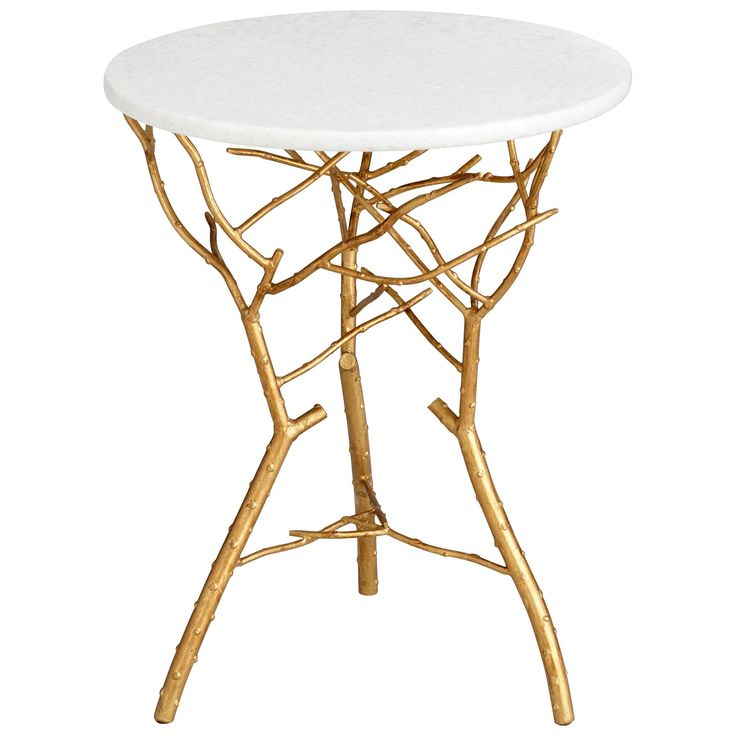 Gold Leaf Finished Iron Side Table With A Branch Inspired Base And Granite  Top.Product: End Table Construction Material:.