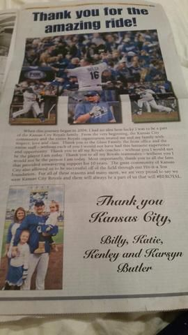Billy Butler and family thank Kansas City Royals fans, organization in full-page newspaper ad - + KSHB.com