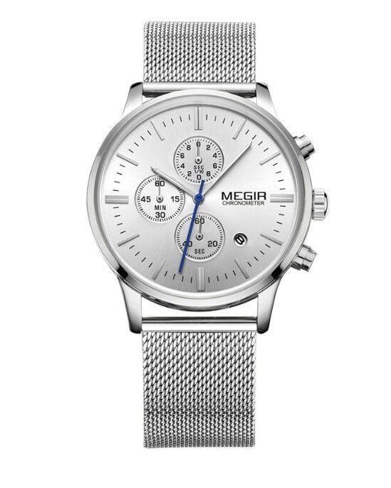 Luxury designer mens watch Quartz silver stainless steel mesh band wristwatch  #MEGIR