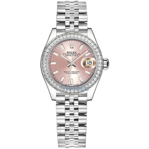 Rolex Lady Datejust 28mm Stainless Steel 279384RBR Pink Index Jubilee... (171.990.035 IDR) ❤ liked on Polyvore featuring jewelry, watches, stainless steel, pink jewelry, pink watches, pink-face watches, rolex jewelry and stainless steel watches