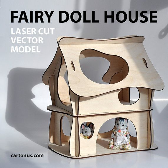 Fairy DOLL HOUSE vector model for laser cutter. Instant download