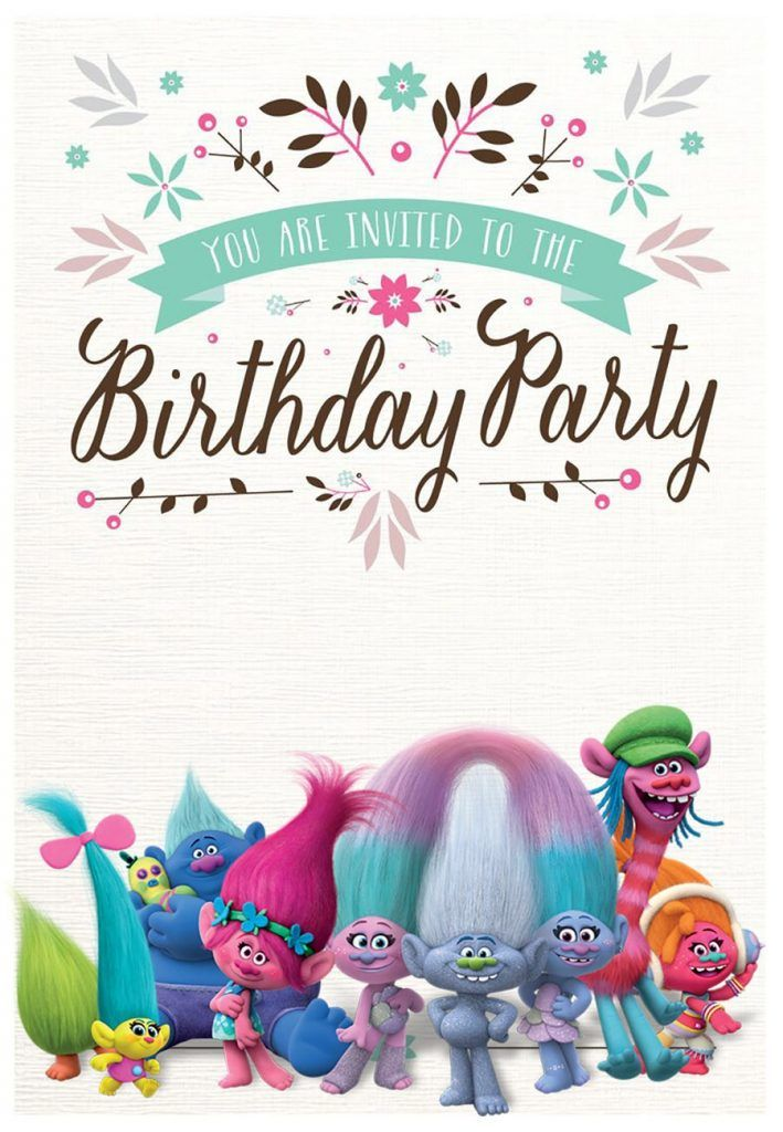 Custom Trolls Invitation Template