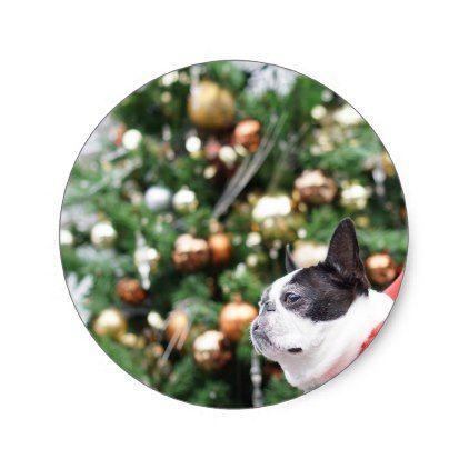 Boston Terrier Pug Dog Christmas Classic Round Sticker - christmas craft supplies cyo merry xmas santa claus family holidays