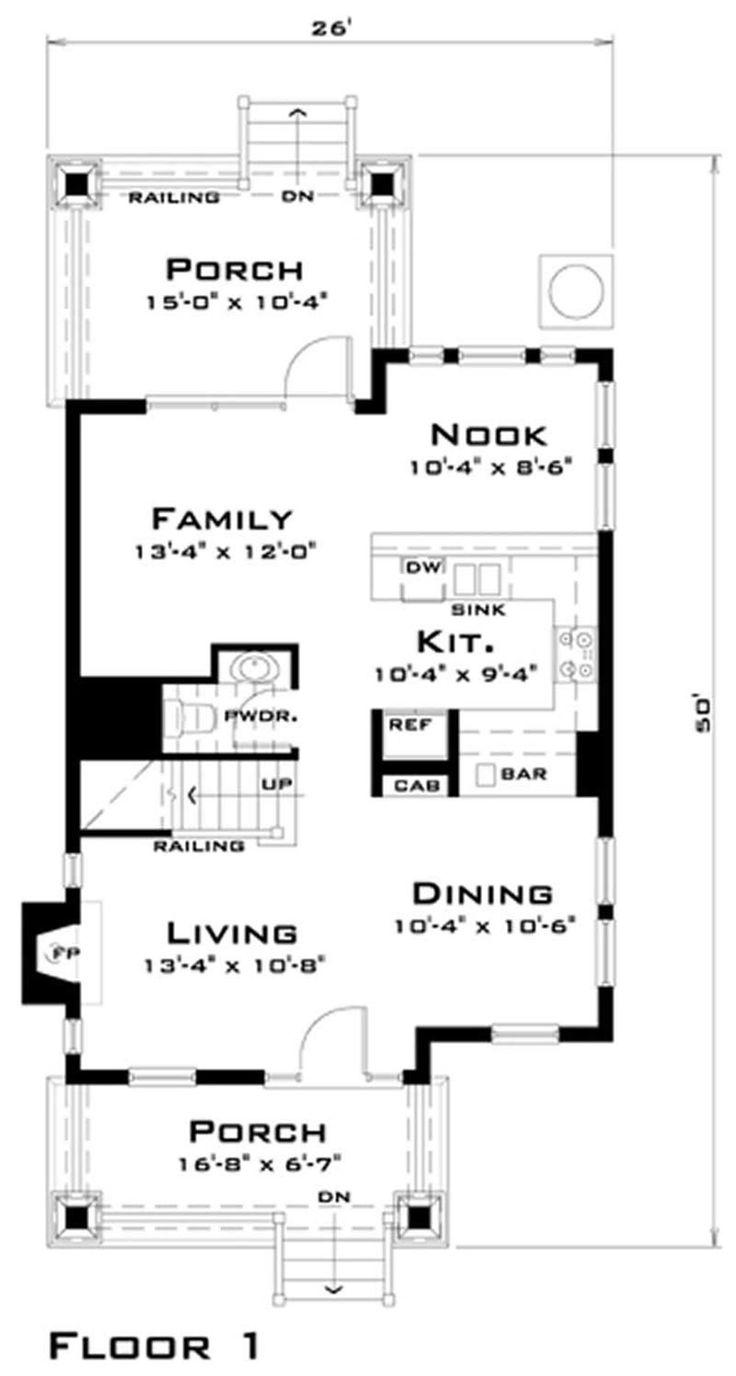 116-1007: House Plan DT-0038 Main Floor Plan