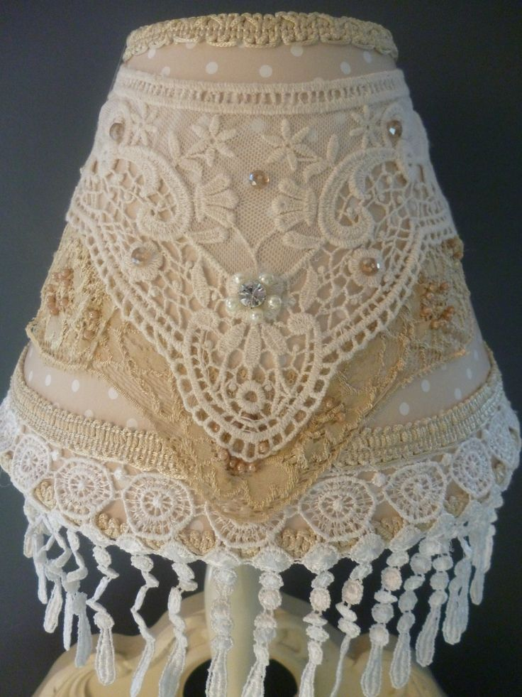 LAMPSHADE-Beige White Polka dot Table Lamp-Shabby Chic Lace Lamp-Vintage Pearl Lighting-Crystal embellished- handcrafted by HomeChiqueHome. $44.00, via Etsy.