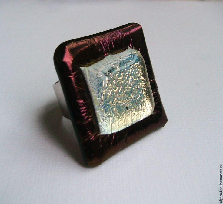Купить Кольцо Фишка. Фьюзинг. - кольцо, кольцо ручной работы, кольцо из стекла, фьюзинг украшения