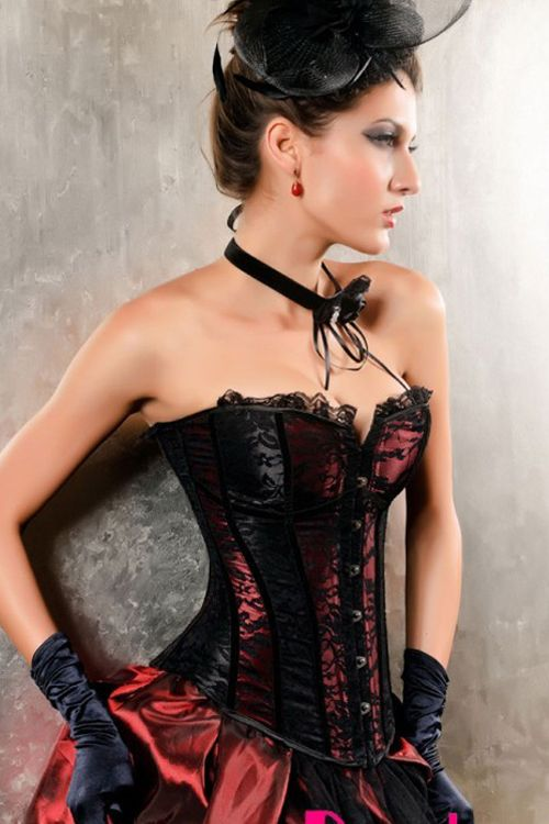 Burlesque Red Corset With Black Lace Overlay and Trim, Black Alternating Panels and Front Busk-$8.55-Overbust Corsets | IWantLingerie.com