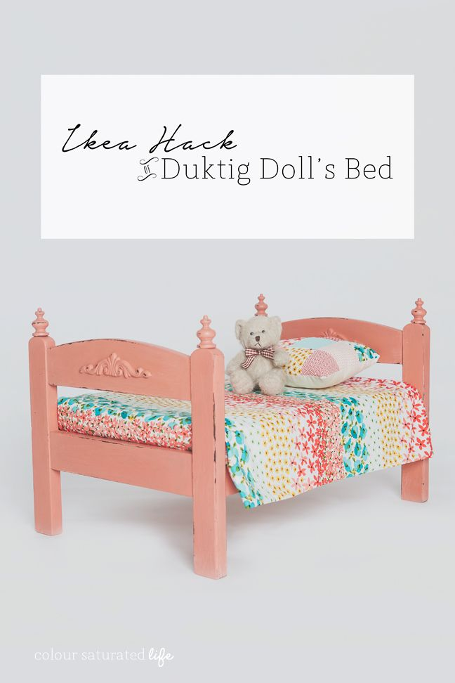 Ikea Hack Duktig Doll bed into a rustic vintage bed with oodles of wooden details
