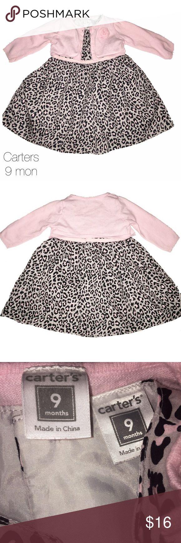 Carters Gray Light Pink Cardigan Dress Set 9 mon Gently worn Carters Gray Light Pink Cardigan Dress Set 9 mon Carter's Dresses