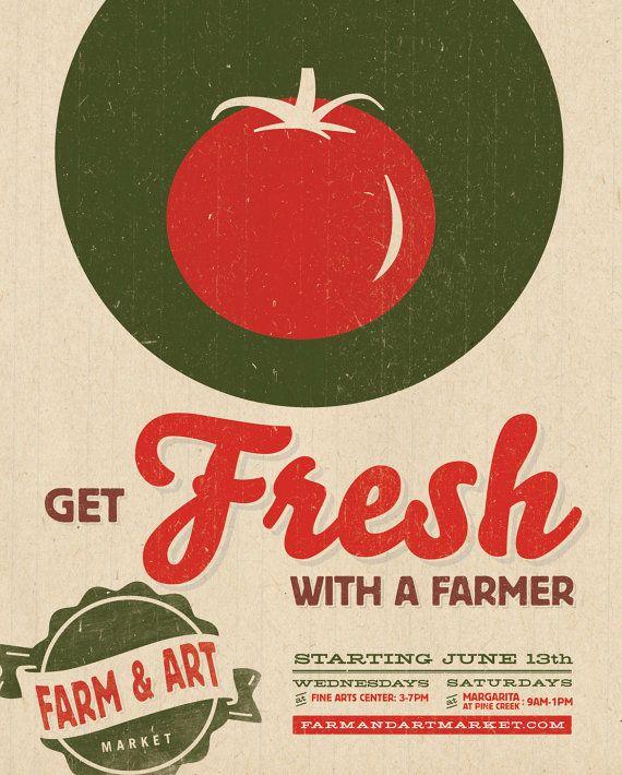 Farmers Market Poster  Get Fresh With A Farmer by Austin Buck
