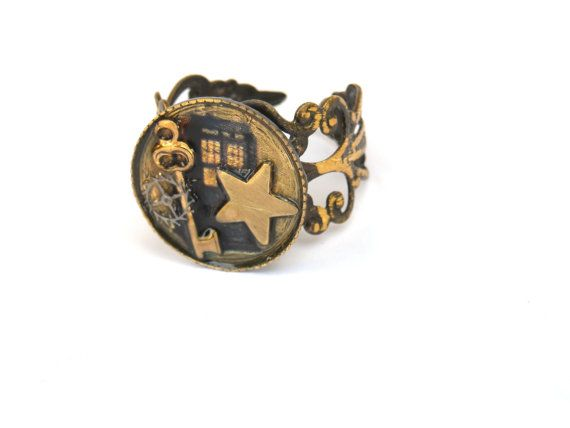 Doctor Who Ring TARDIS and TARDIS Key by TimeMachineJewelry