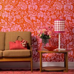 Flowers and bird damask wall stencil