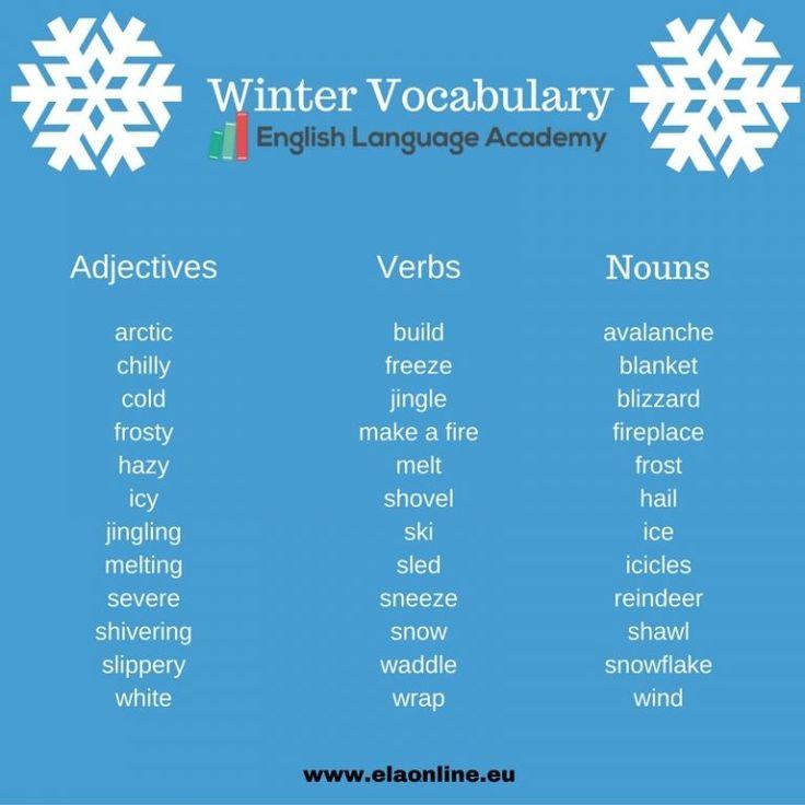 Anglická slovná zásoba, anglické slovíčka, anglické podstatné mená, anglické slovesá, anglické prídavné mená, english vocabulary, winter