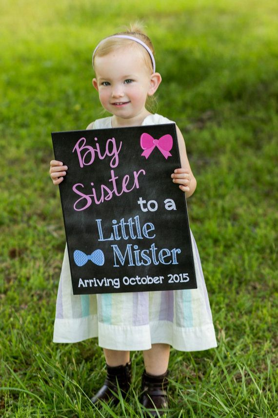 Printable Pregnancy Big Sister Announcement Photo prop // Pregnancy Reveal // Gender Reveal // Little Mister