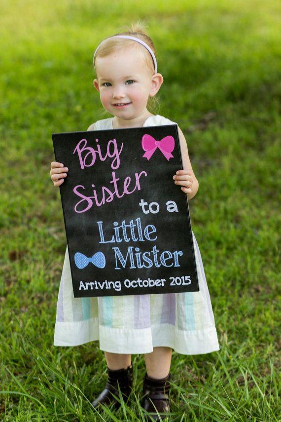 Printable Pregnancy Big Sister Announcement Photo prop // Pregnancy Reveal // Gender Reveal // Little Mister