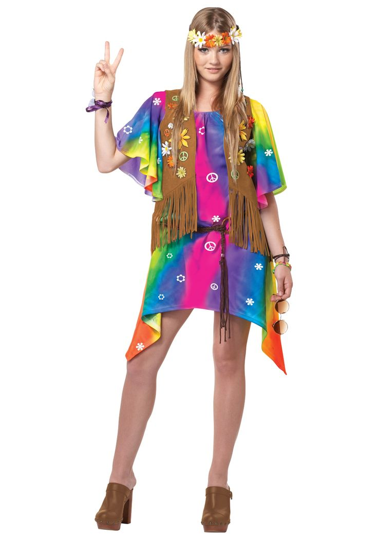 Halloween Costumes for Girls Age 10 | Teen Groovy Girl Hippie Costume - Hippie Costumes for Teenage Girls