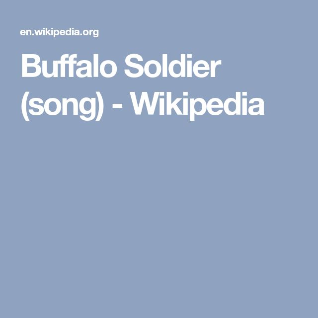 Buffalo Soldier (song) - Wikipedia