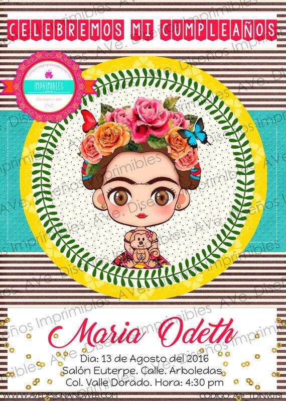 Frida Kahlo Invitations Frida Kahlo Birthday by AVeDesignandWeb