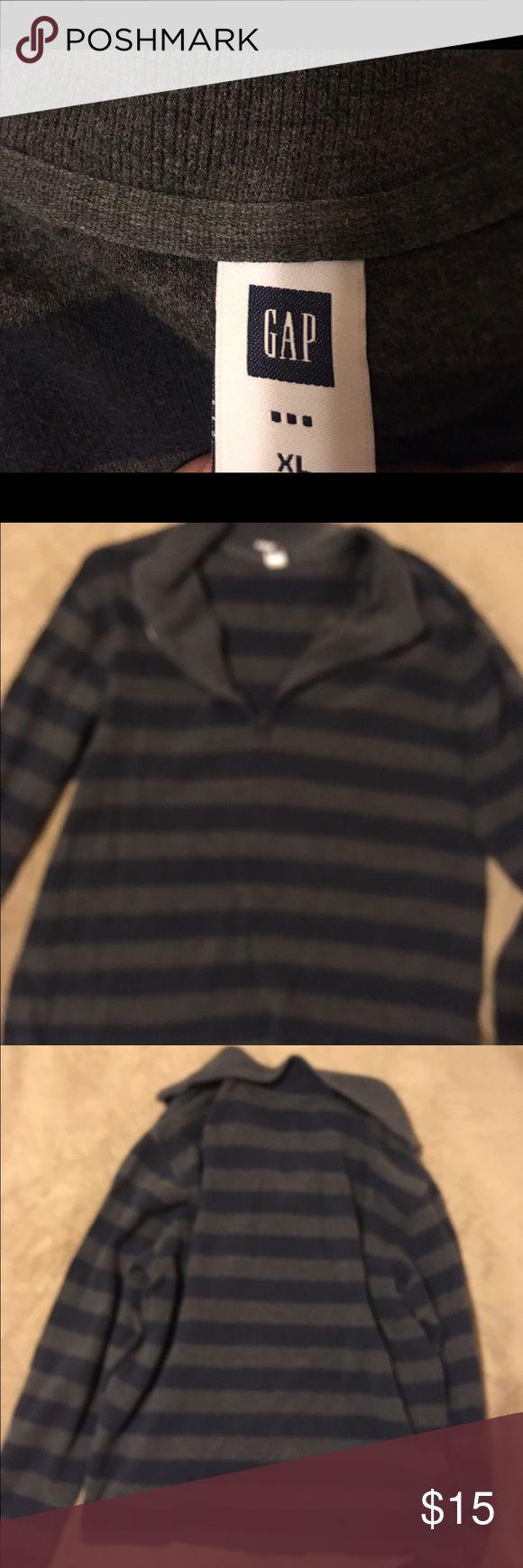 GAP men's half zip sweater jacket Navy and grey striped. GAP brand. Men's size XL. Good condition GAP Jackets & Coats Lightweight & Shirt Jackets