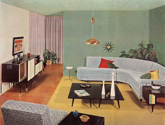 Theniftyfifties: Mid Century Living Room Design By Linden And Ramona For  The Sherwin Williams 1956 Home Decorator Booklet.