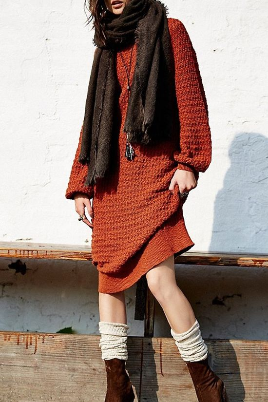 perfect autumn -winter knit sweater dress// love the russet and brown combo