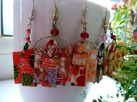 Origami Kimono Earrings dangling earrings Washi Paper by MarysaArt