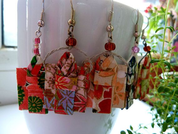 Origami Kimono Earrings dangling earrings Washi Paper by MarysaArt