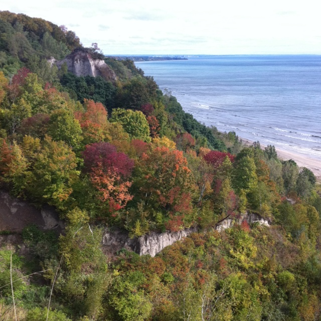 Scarborough Bluffs in the fall. Lake Ontario, Ontario, Canada.