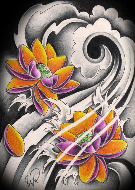 i like the black and white background with colored lotus.. japanese lotus color by WillemXSM.deviantart.com on @deviantART