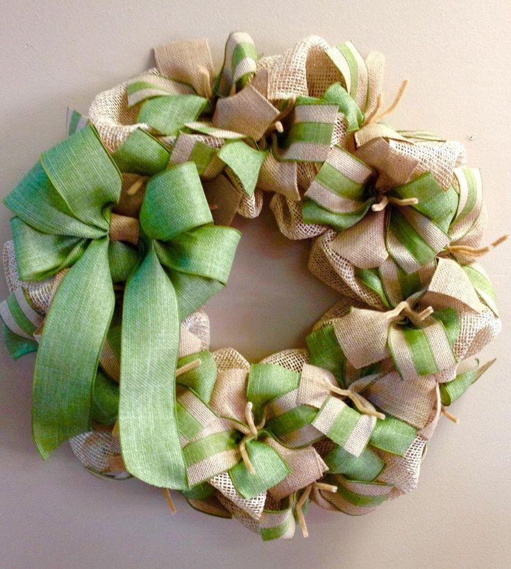 Wreath it! Burlap Wreath Wall Hanging-Natural Burlap, Sage or Moss Green - Made with our patent pending Wreath it! base