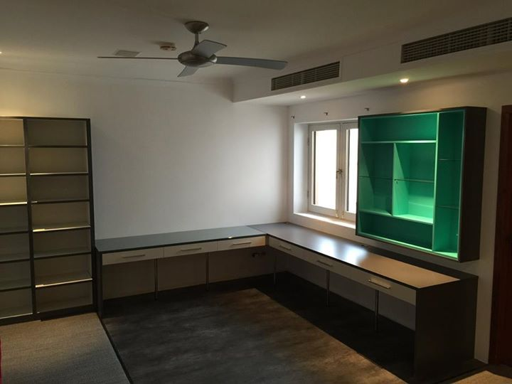 Urban Look: Home Office. Featuring black and white storage units with painted green for the wow factor! Installed earlier this year.