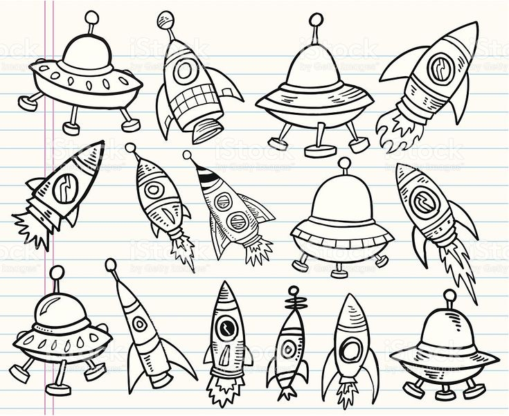 Cute Doodle Outer Space Set royalty-free stock vector art