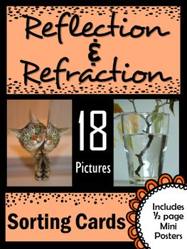 Light Energy: Reflection and Refraction Picture Sorting Cards. Use these real life pictures to provide students with practice differentiating between reflection and refraction of light energy. Also included are mini posters that give students a visual reference when used as a bulletin board.