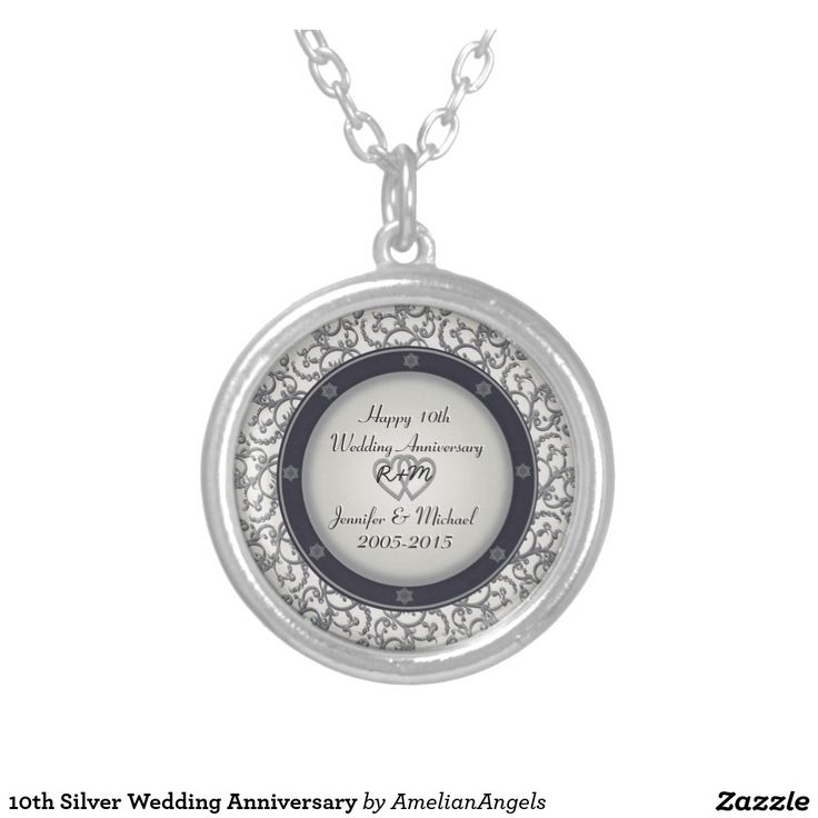 10th Silver Wedding Anniversary Round Pendant Necklace