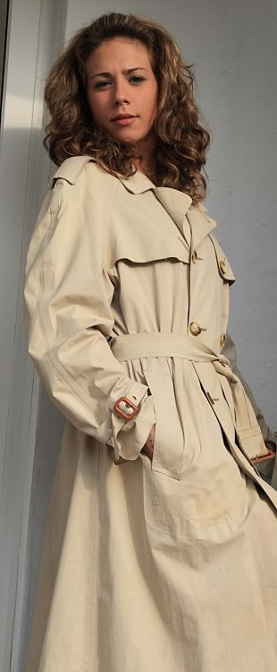 Gillie in a single textured rubberised trench-coat from Flickr by Lorraine Element.