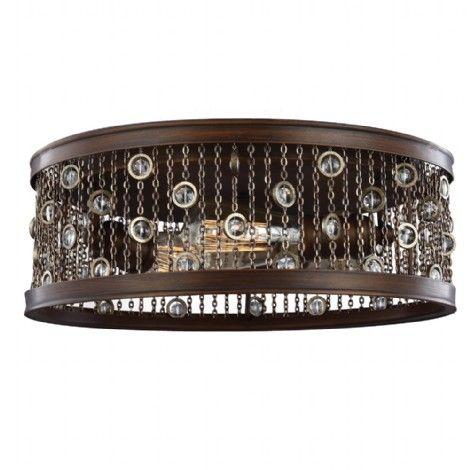 Plafonnier bronze avec accent de cristal incorporer sur de fin maillons de chaîne. Idéal pour entrée, passage, cuisine, salon, chambre, bureau, cinéma maison, veranda, mezzanine.